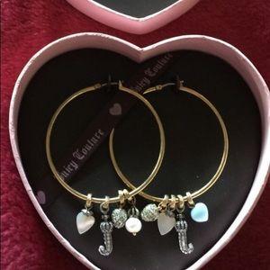 Vntg Juicy Couture Gold tone Hoop charm earrings